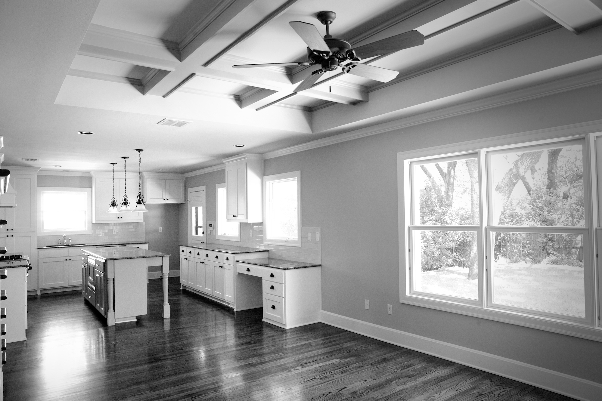 Bellaire BW Kitchen Living (Hedgefield Custom Homes)