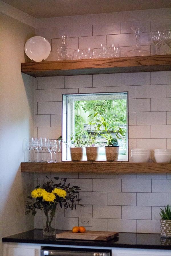 Home Design Accents: floating oak shelves in a kitchen