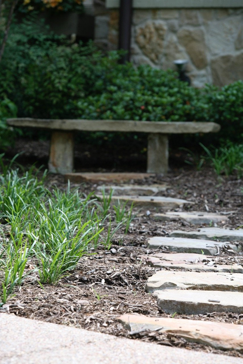 Home Design Accents: stone path through a landscaped area