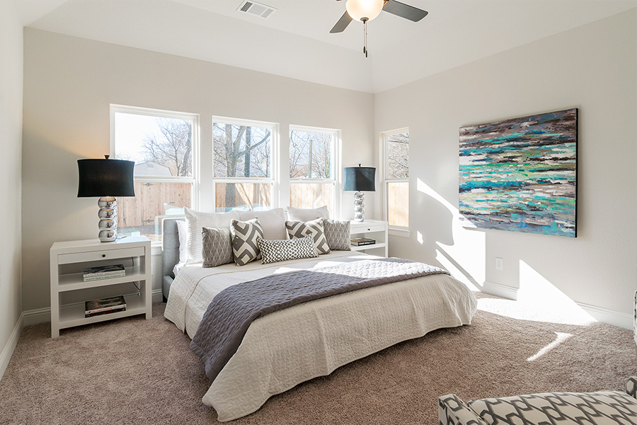 Bedroom Custom Home Design (Texas Homes): Master Bedroom With 3 Windows and 10' Ceiling