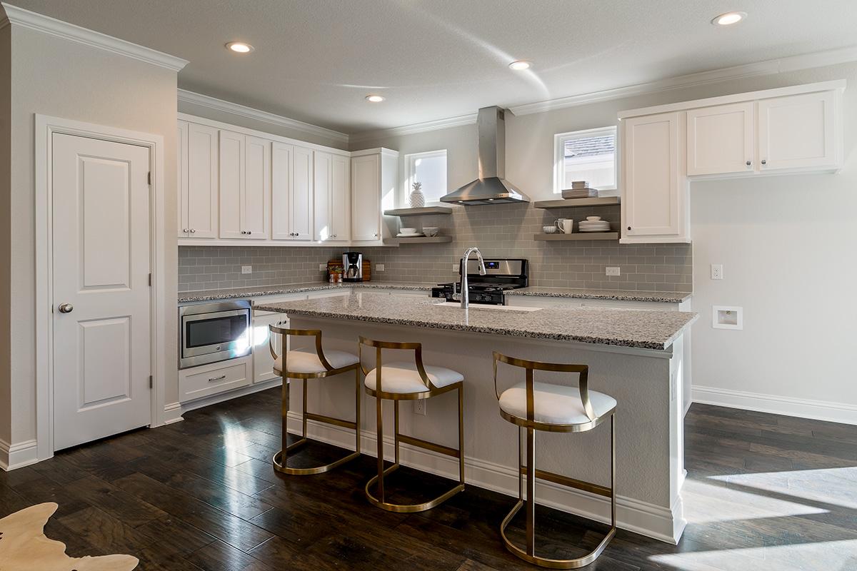 Kitchen Design: painted white kitchen with dark wood floors