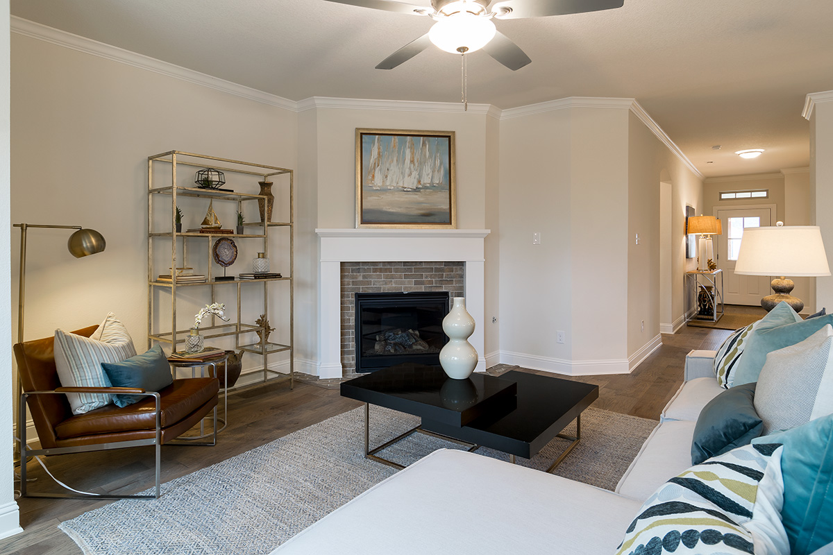 Living Room Design (Texas Homes): living room with wood burning fireplace
