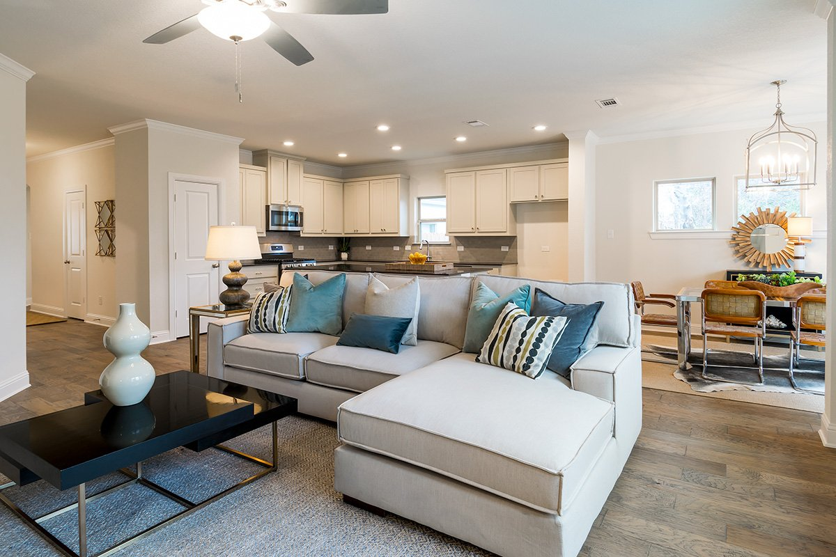Living Room Design (Texas Homes): living room and kitchen and dining