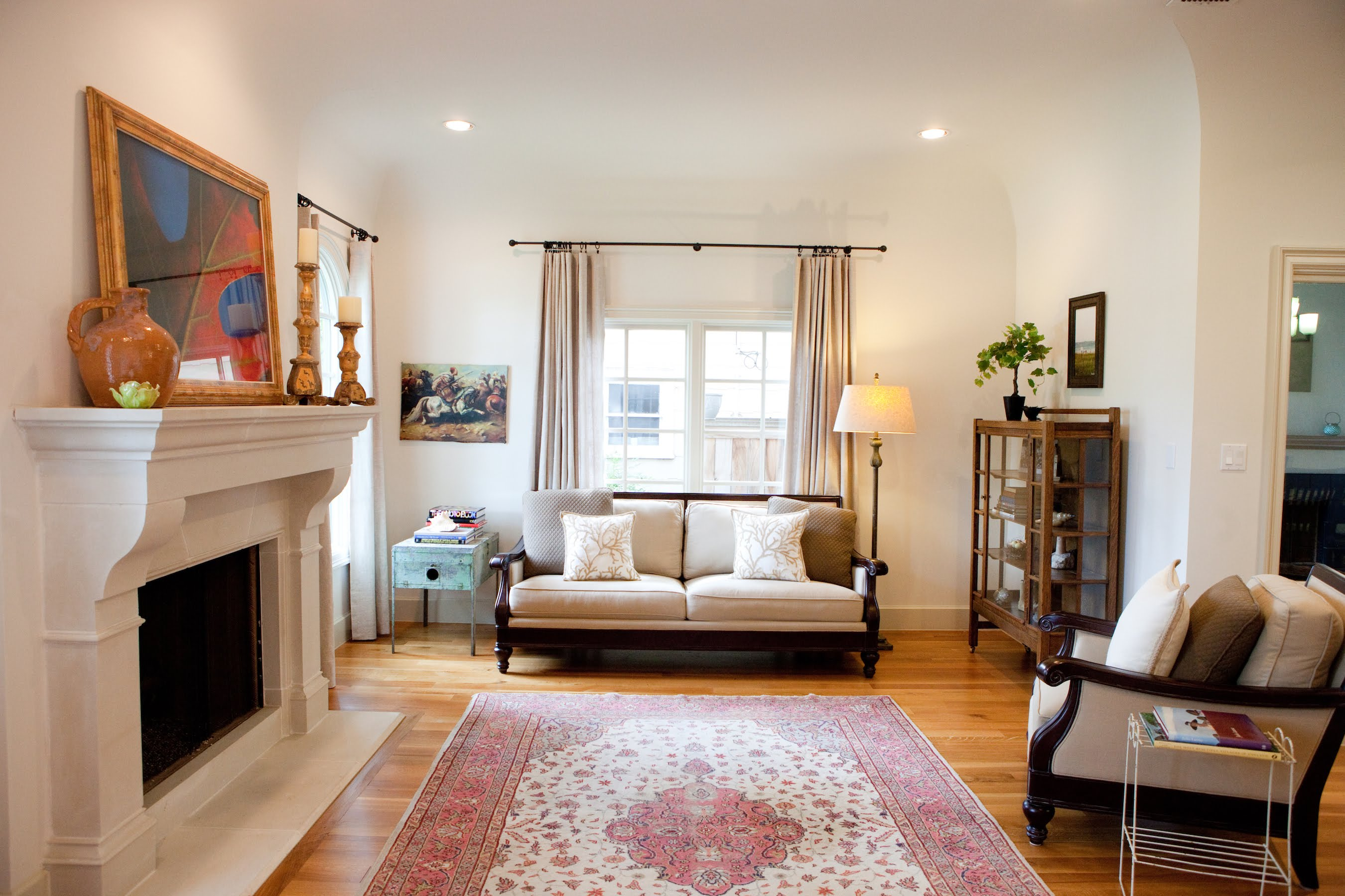 Living Room Design (Texas Homes): living room with coved ceilings and cast stone fireplace