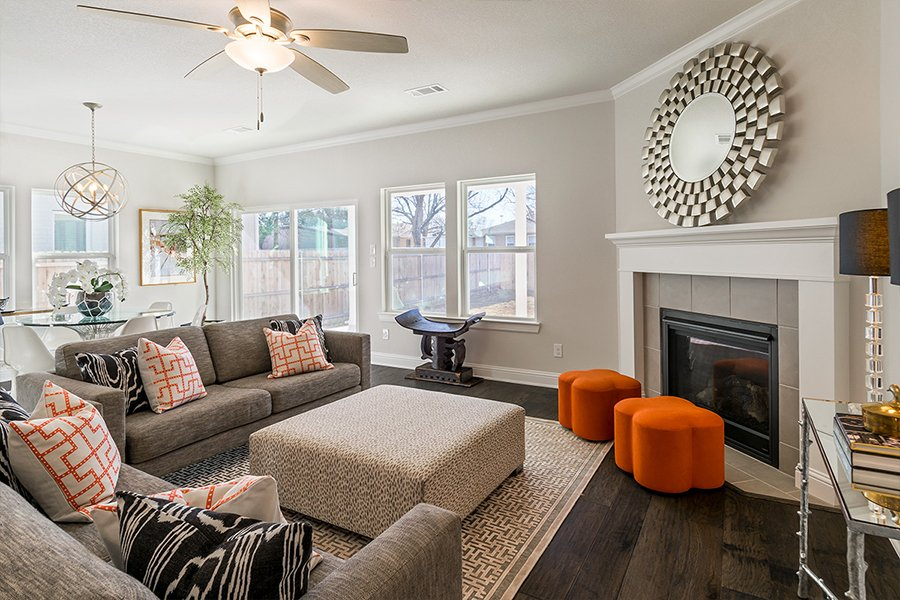 Living Room Design (Texas Homes): family room with fireplace and sectional